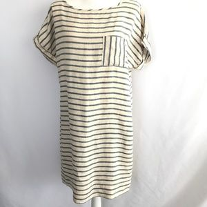 Land's End Canvas Blue & Cream Stripe Dress